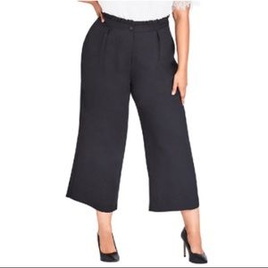 City Chic Ruffle-waist Cropped Pants In Black